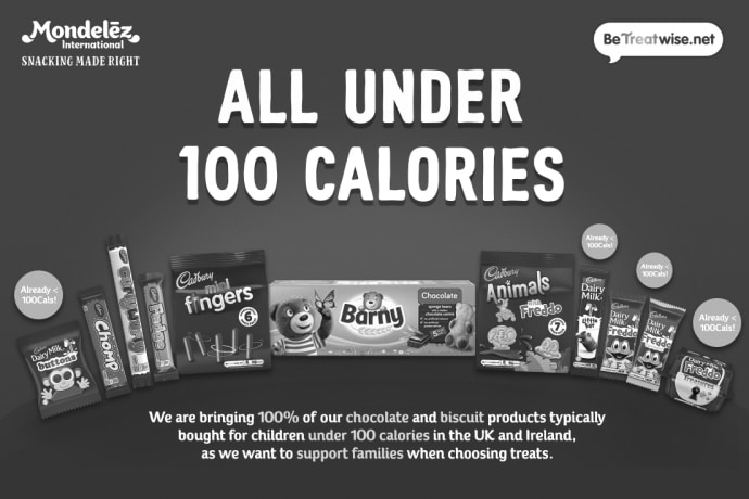 Mondelēz International to bring 100% of its chocolate and biscuit products typically bought for children under 100 calories in the UK and Ireland